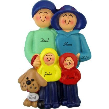 Family and Dog: 4 People Personalized Christmas Ornaments
