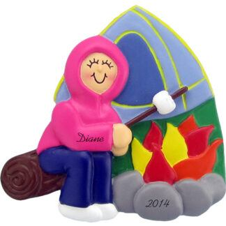 Camping: Female Personalized christmas Ornaments