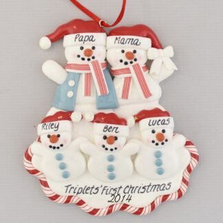 Triplets and Parents personalized christmas Ornament