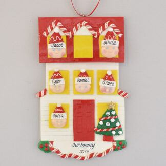 Personalized christmas Ornament house for Family of Six