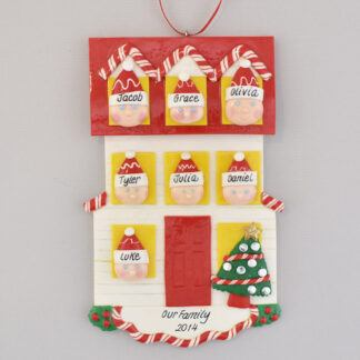 Personalized christmas Ornament house for a Family of Seven