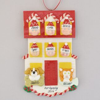 Personalized christmas Ornament house for Family of Six with Two Pets