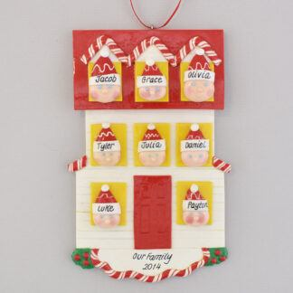 Personalized christmas Ornament house for Family of Eight