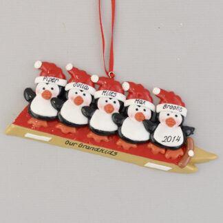 Grandchildren 5 Penguins Sledding Personalized christmas Ornament