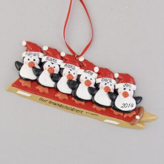 Grandchildren 6 Penguins Sledding Personalized christmas Ornament