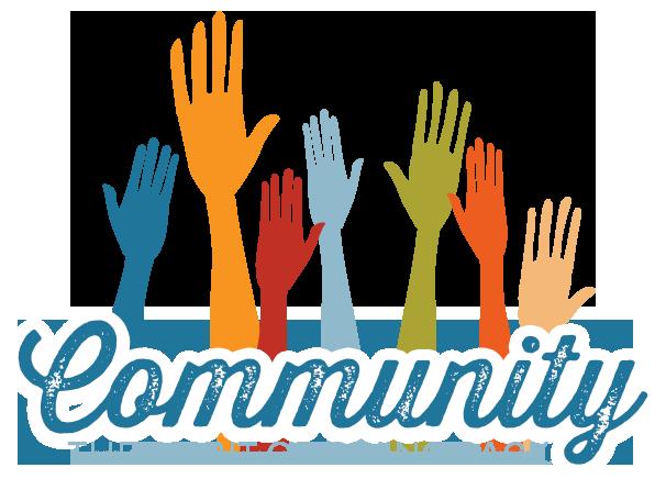 hands held high for community team spirit