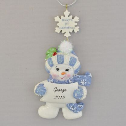 Baby Boy's First Christmas Snowman personalized christmas Ornament