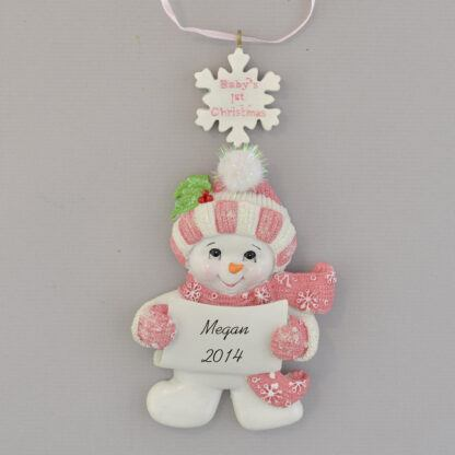 Baby Girl's First Christmas Snowman personalized christmas Ornament