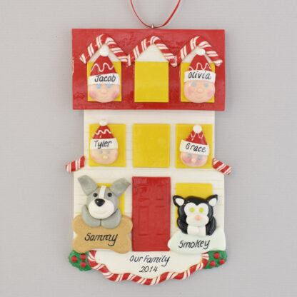 Personalized House christmas Ornament for Family of 4 with 2 Pets