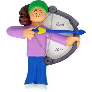 Archery: Female, brunette Personalized christmas Ornament