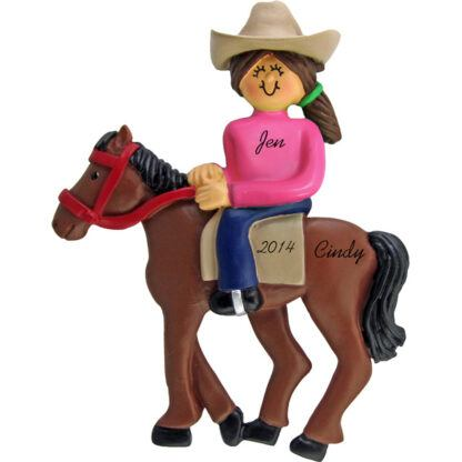 Horseback Riding: Female, Brunette Personalized christmas Ornament