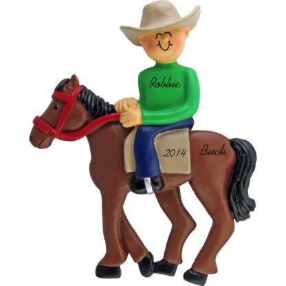 Horseback Riding: Male Personalized Christmas Ornament