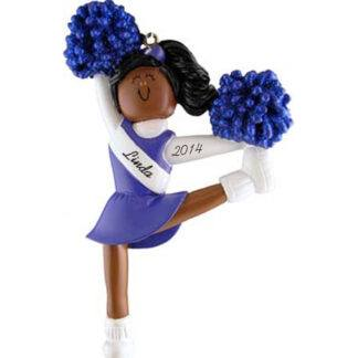 Cheerleader: Blue Uniform, Personalized christmas Ornament