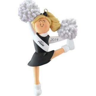 Cheerleader: Black Uniform, Blonde Personalized christmas Ornament