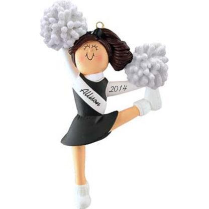 Cheerleader: Black Uniform, Brown Hair Personalized christmas Ornament