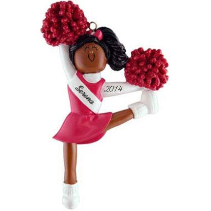 Cheerleader: Red Uniform, Personalized christmas Ornament