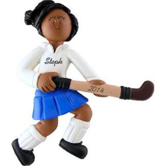 Field Hockey Player: Female, Personalized christmas Ornament