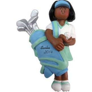 Golfer: Female Personalized christmas Ornament
