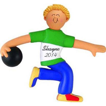 Bowler: Male, Blonde Personalized christmas Ornament