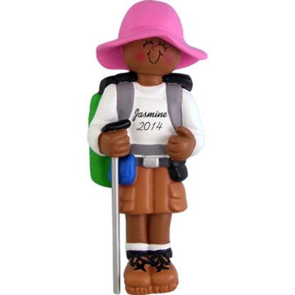 Hiker: Female Personalized christmas Ornament