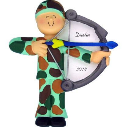 Hunter with Bow Personalized Christmas Ornament