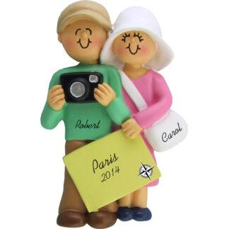 Couple on Vacation Personalized Christmas Ornament