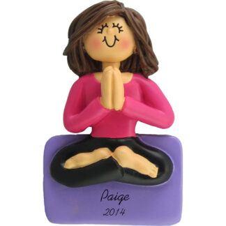 Yoga: Female Brunette Personalized Christmas Ornament