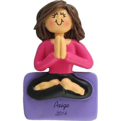Yoga: Female Brunette Personalized Christmas Ornament