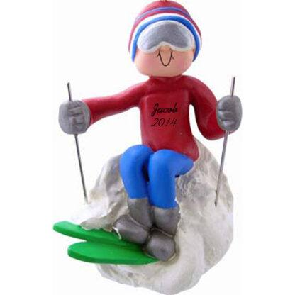 Skier: Male, Personalized Christmas Ornament