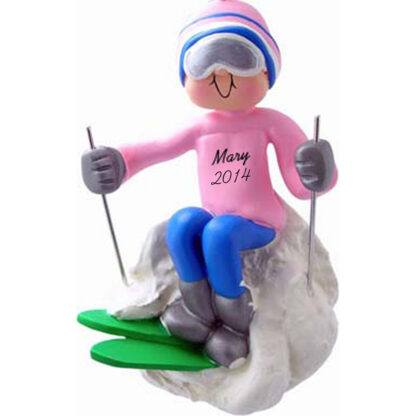 Skier: Female, Personalized Christmas Ornament