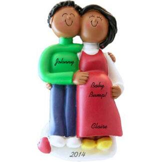 Pregnant Couple: Both Ethnic personalized family christmas ornament