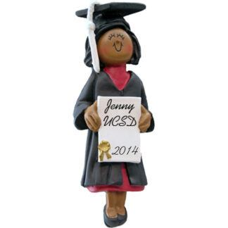 Girl Graduate: Ethnic Personalized christmas Ornament