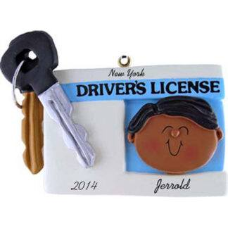 Driver's License: Ethnic Male Personalized christmas Ornament