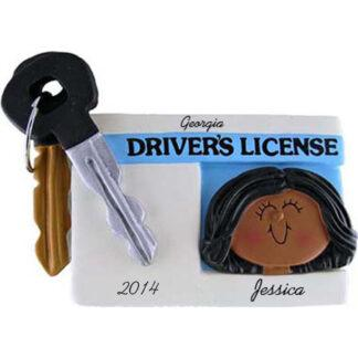Driver's License: Ethnic Female Personalied christmas Ornament