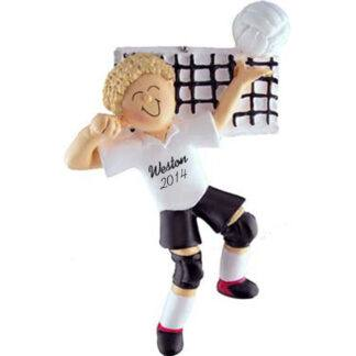 Volleyball Blonde Male Personalized christmas Ornament