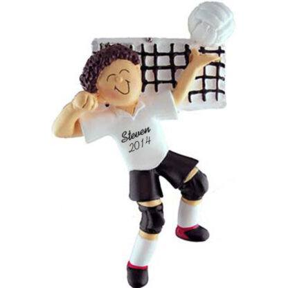Volleyball Brunette Male Personalized christmas Ornament