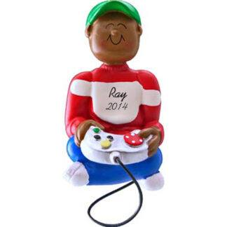 Video Game Player: Ethnic Boy Personalized christmas Ornament