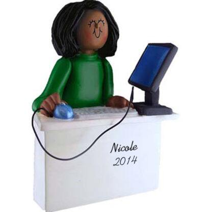 Computer Tech: Female Personalized christmas Ornament