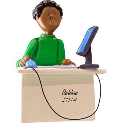 Computer Tech: Male Personalized christmas Ornament