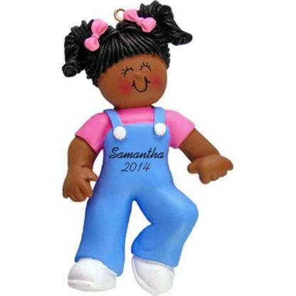 Baby's First Steps: Ethnic Girl Personalized christmas Ornament