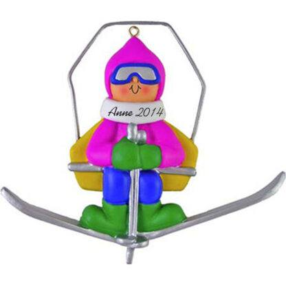 Skier on Lift: Female Personalized christmas Ornament