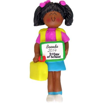 First Day of School: Ethnic Girl Personalized christmas Ornament