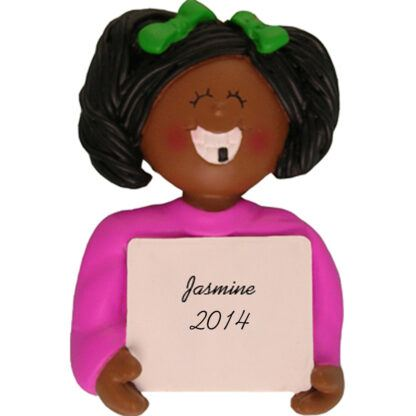 Lost A Tooth: Ethnic Girl Personalized christmas Ornament