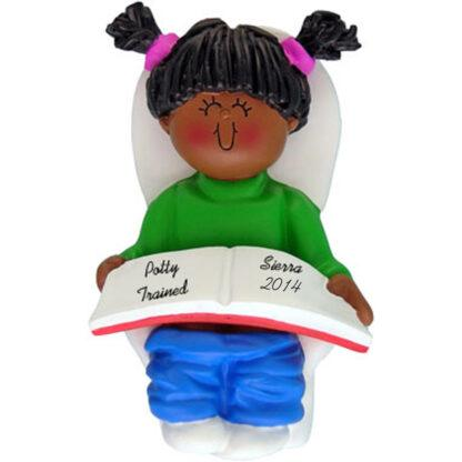 Potty Trained: Ethnic Girl Personalized christmas ornament