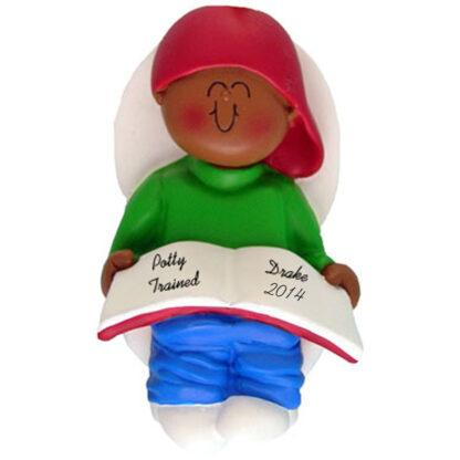 Potty Trained: Ethnic Boy Personalized christmas Ornament