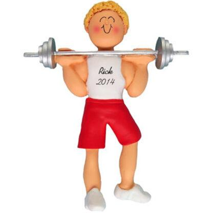 Weightlifter: Male Blonde Personalized christmas Ornament