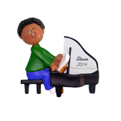 Piano Player: Ethnic Male Personalized christmas Ornament