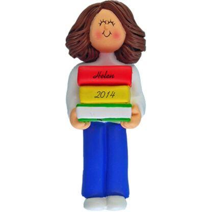 Reader: Brunette Girl Personalized christmas Ornament