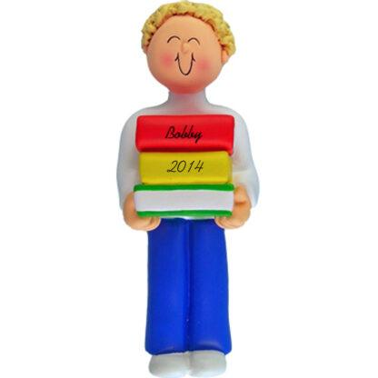 Reader: Blonde Boy Personalized christmas Ornaments