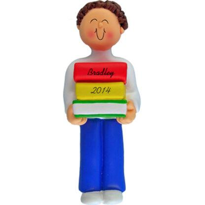 Reader: Brunette Boy Personalized christmas Ornament